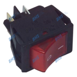 Rocker switch - ON-OFF, fixed, 4pins. 16A/250Vac, 22x30mm, SPST, red NEON illumination