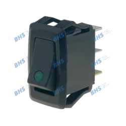 Rocker switch; (ON)-OFF, nonfixed, 3pins. 10A/250Vac, 27.2x13.6mm illuminated, SPST green 12V LED