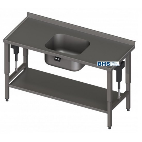 Metāla galds ar regulējamu virsmu un izlietni