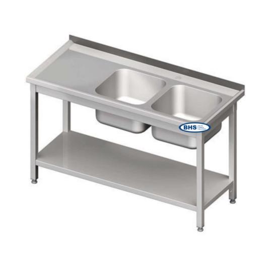 Metāla galdi ar divām izlietnēm un plauktu