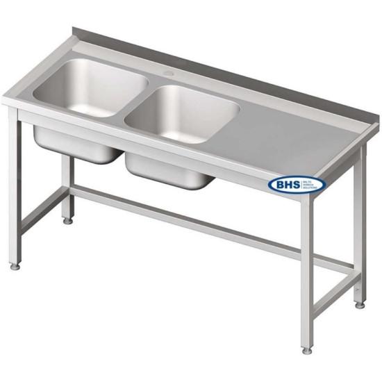 Metāla galdi ar divām izlietnēm bez plaukta