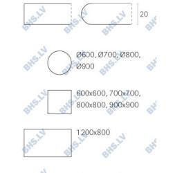 Galda virsma GNA 60x60 cm, kvadrātveida